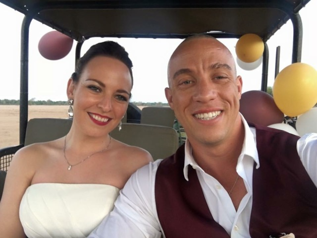 Kelli and Anton on 'wedding safari'