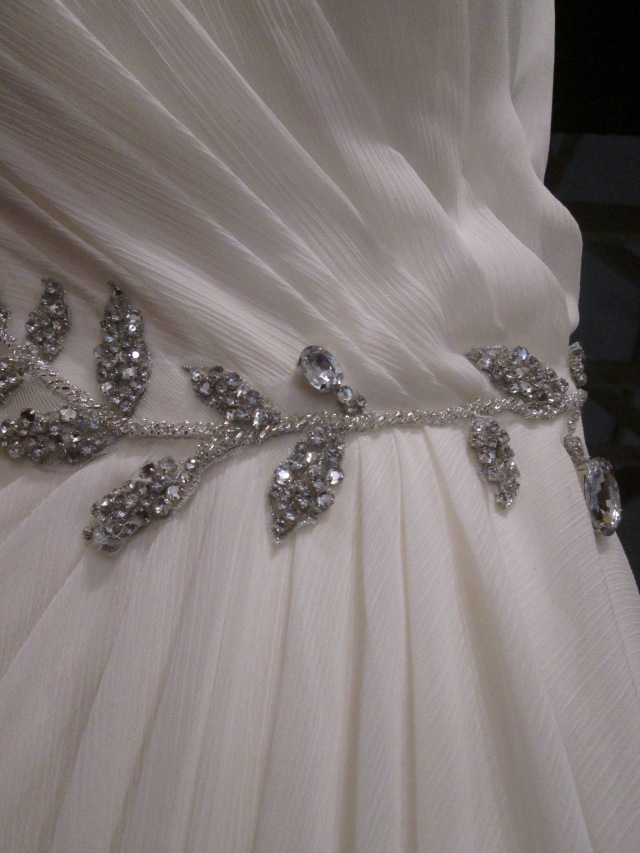 rhinestone embellishments on the Vera Wang dress