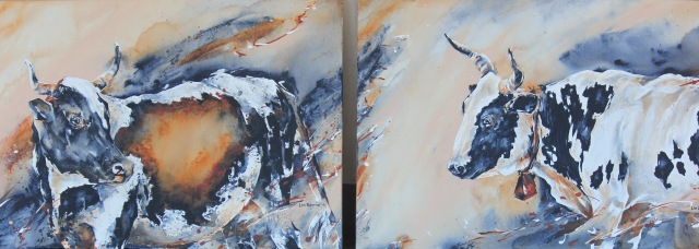 a-pregnant-cow-and-an-old-nguni-cow-acrylic-on-stretched-canvas-each-panel-2-x-3-feet