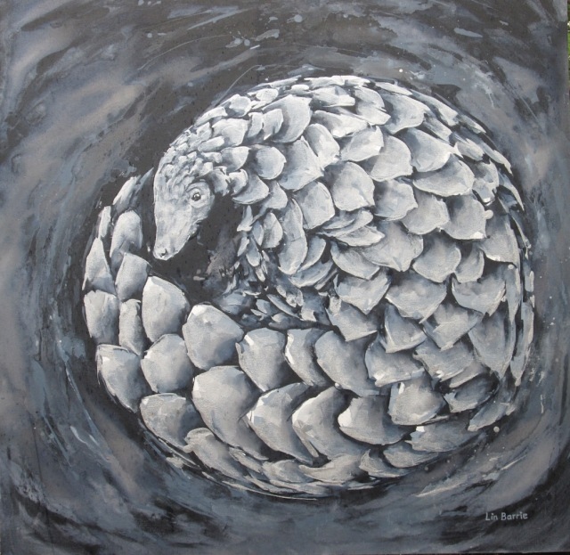 Rolled Silver Pangolin, acrylic on stretched canvas, 3 x 3 feet lo res.jpg