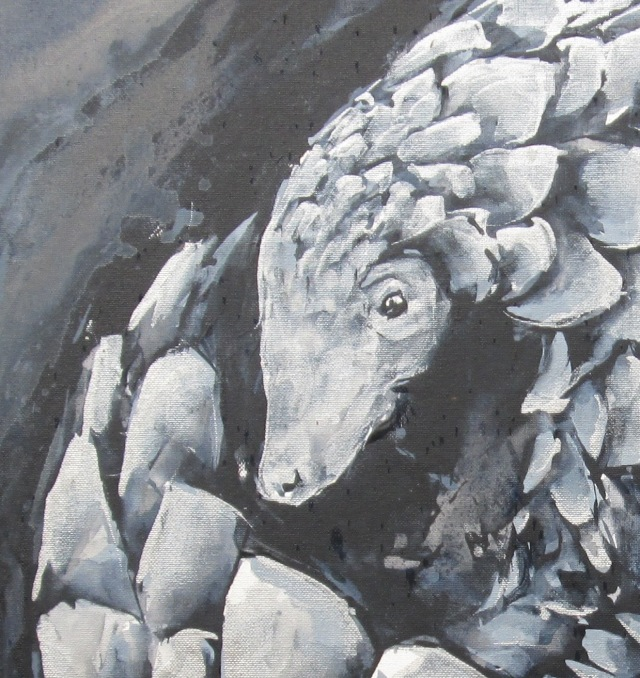 Rolled Silver Pangolin, acrylic on stretched canvas, detail crop.jpg