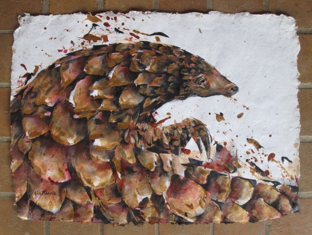 Rose Gold pangolin, acrylic on handmade paper, lo res.jpg