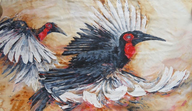 Hornbills in flight, acrylic on loose canvas, 104 x 179 cm lo res.jpg