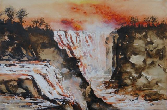 Devil's cataract at dusk, acrylic on loose canvas, 70 x 105 cm lo res.jpg