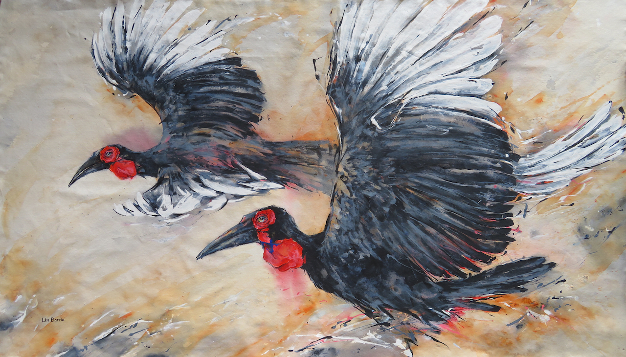 Hornbills I, acrylic on loose canvas, 104 x 179 cm lo res.jpg