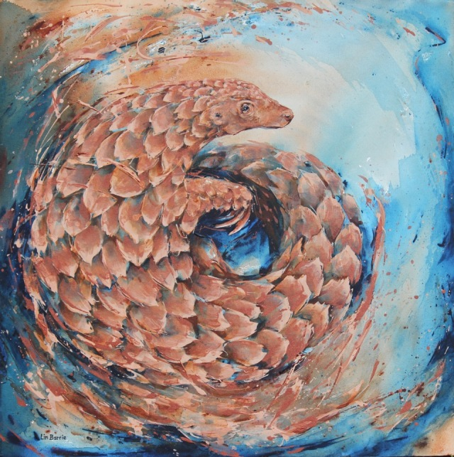 Rose Gold Pangolin, acrylic on stretched canvas, 3 x 3 feet, lo res.jpeg