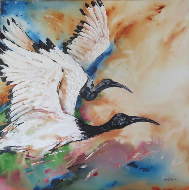 Sacred Ibises, acrylic on stretched canvas, 3 x 3 feet lo res.jpg