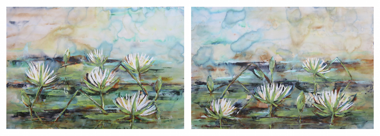 White Waterlilies (diptych), acrylic on loose canvas, 90 x 130 cm each panel lo res.jpg