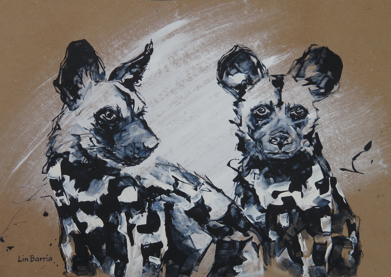 Puppy Love I, acrylic on brown craft paper, 34 x 47 cm (A3) lo res.jpg