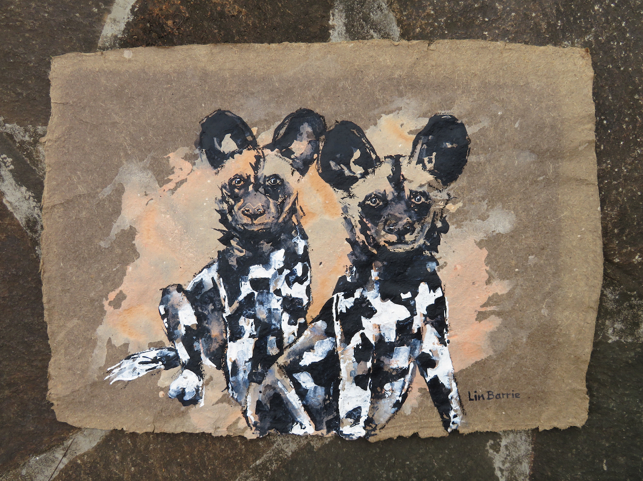 Pups, acrylic on handmade paper, 42 x 59 cm lo res.jpg
