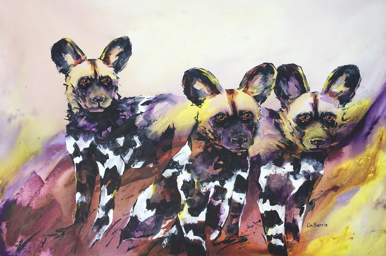 Purple Puppies, acrylic on stretched canvas, framed, 61 x 91 cm (larger with frame) lo res.jpg