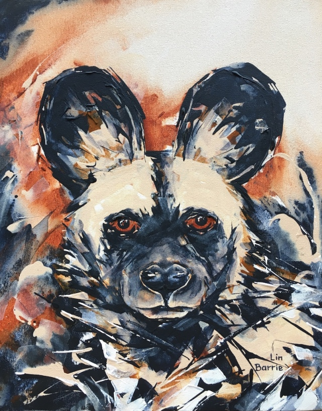 Painted Wolf Portrait, 51 x 41 cm, acrylic on stretched canvas lo res.jpg