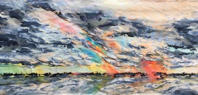 Strange new dawn, acrylic on loose canvas, 85 x 180 cm 1 lo res.jpg