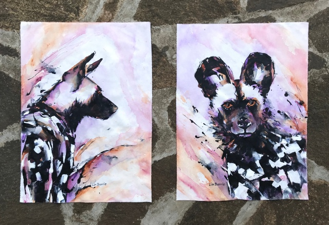 Painted Purple diptych, acrylic on loose canvas, 54 x 39 cm